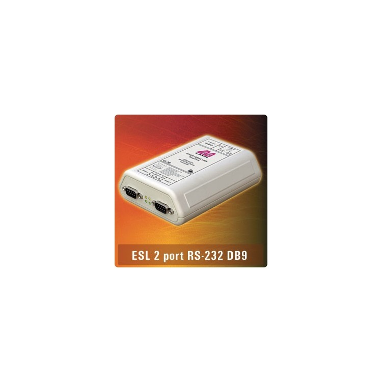 ES2-232DB9 - 2xDB9 RS232 Ethernet Serial Link EU Powe